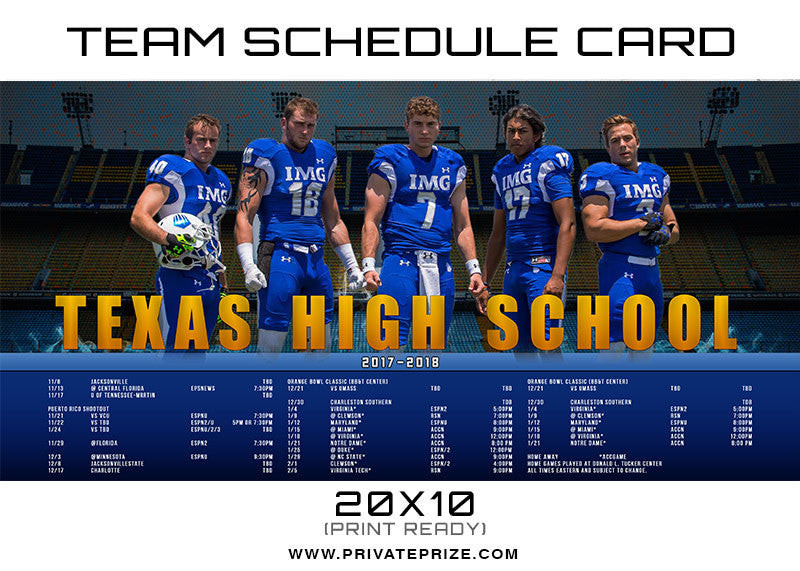 Texas Team Schedule Card - Photography Photoshop Templates