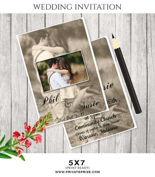 Phil & Susie Wedding Invitation Card - Photography Photoshop Templates