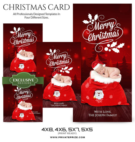 Christmas Card Love from the family and the newborn - Photography Photoshop Template
