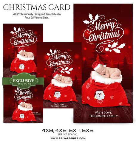 Christmas Card Love from the family and the newborn - Photography Photoshop Templates