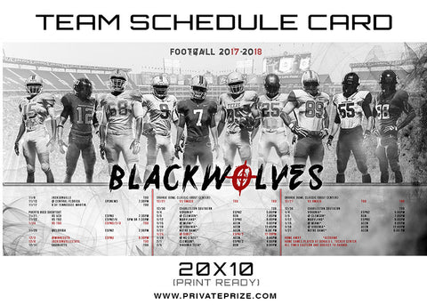 BlackWolves Team Schedule Card - Photography Photoshop Templates