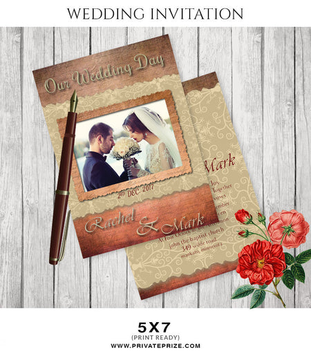 Rachael&Mark Wedding Invitation Card - Photography Photoshop Template