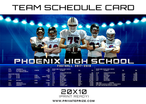 Phoenix Team Schedule Card - Photography Photoshop Templates