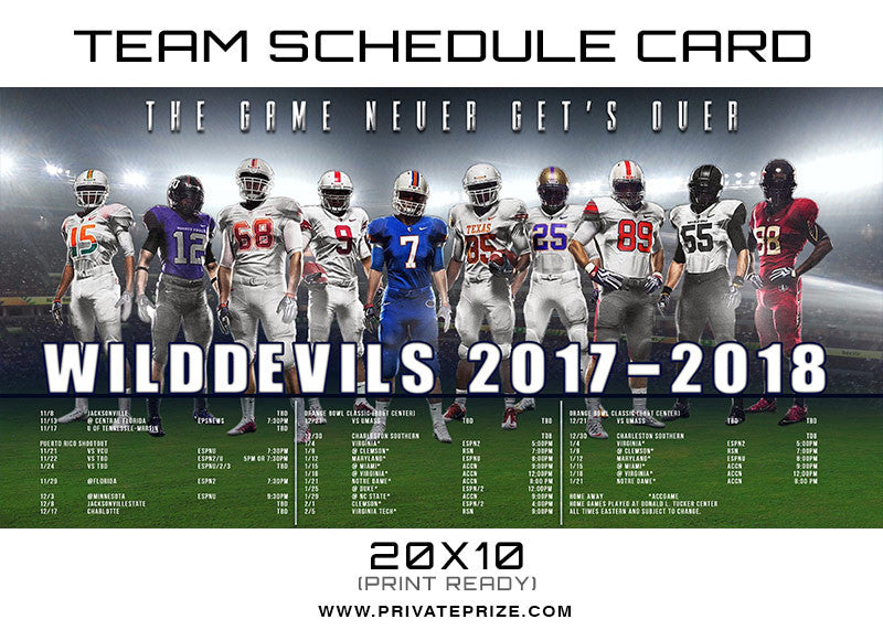 Wild Devils Team Schedule Card - Photography Photoshop Templates