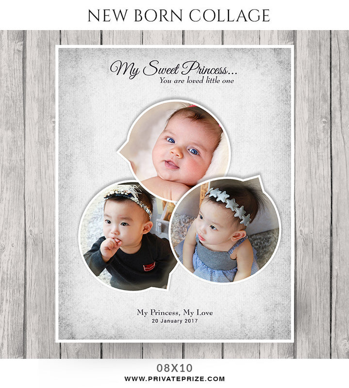 Baby Collage Set -Sweet Princess - Photography Photoshop Template