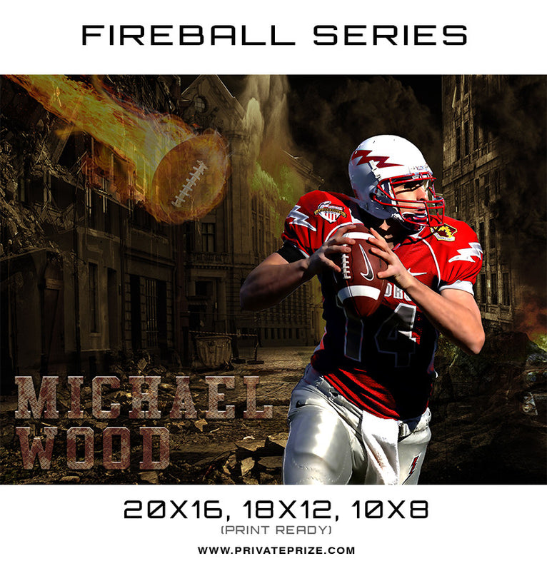Michael Wood Football - Sports Fireball Series - Photography Photoshop Templates
