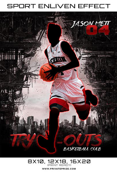 Try Outs Basketball Sports Template -  Enliven Effects - Photography Photoshop Template