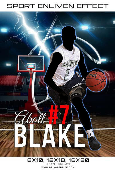 Basketball  Blake 2017 Sports Photography Template -  Enliven Effects - Photography Photoshop Template