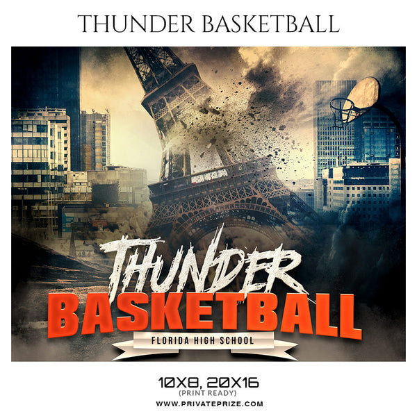 THUNDER BASKETBALL Themed Sports Photography Template