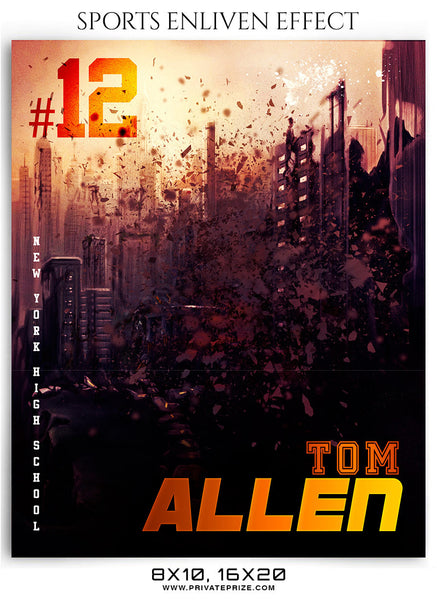 Tom Allen Football Sports Photography- Enliven Effects - Photography Photoshop Template
