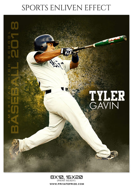TYLER GAVIN-BASEBALL- SPORTS ENLIVEN EFFECT - Photography Photoshop Template