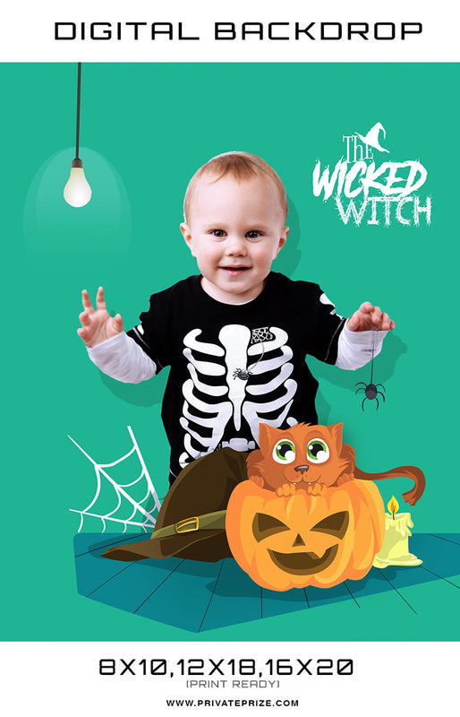 The Wicked Witch - Baby Halloween Template Digital Background - Photography Photoshop Template