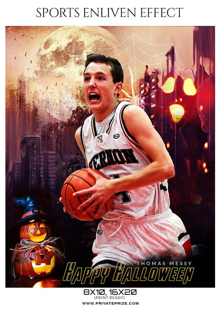 Thomas-Messy - Basketball  Halloween Template -  Enliven Effects - Photography Photoshop Template