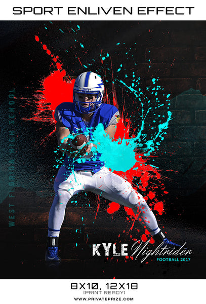 Splashed Color  Themed Sports Template - Photography Photoshop Templates