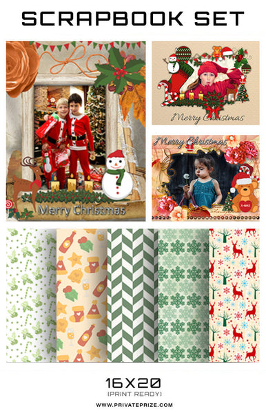 Christmas Scrapbook -Joy - Photography Photoshop Templates