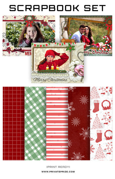 Christmas Collection - Scrapbook Kit -Christmas Love - Photography Photoshop Templates