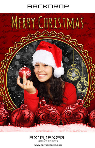 Merry Christmas Red Digital Photography Backdrop - Photography Photoshop Templates