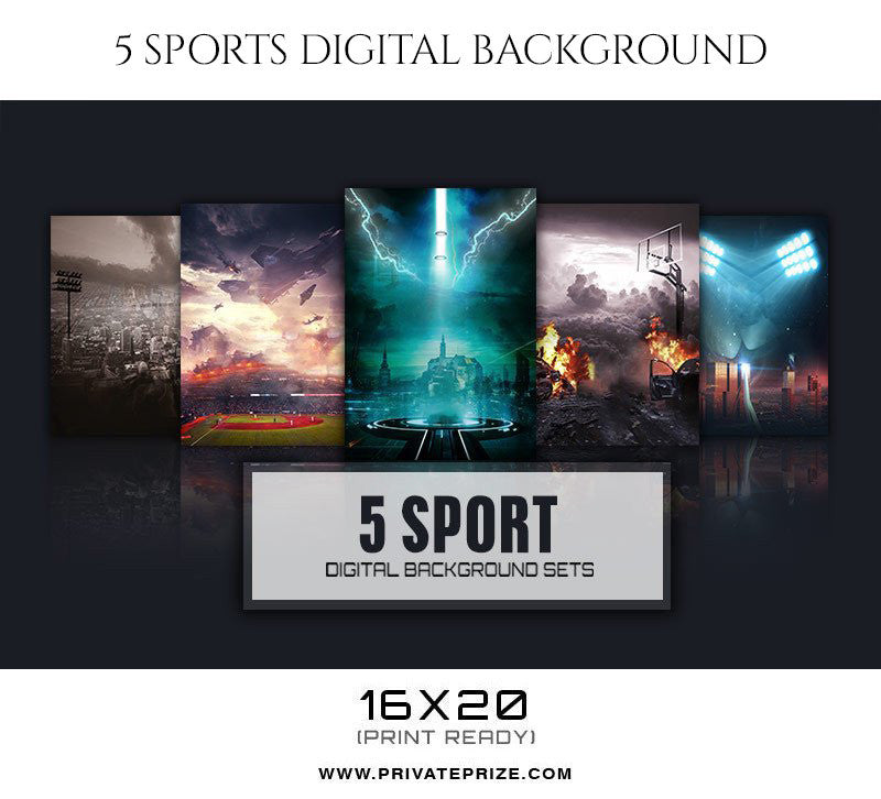 Power 5 Sports Digital Background - PrivatePrize Photography Photoshop Templates