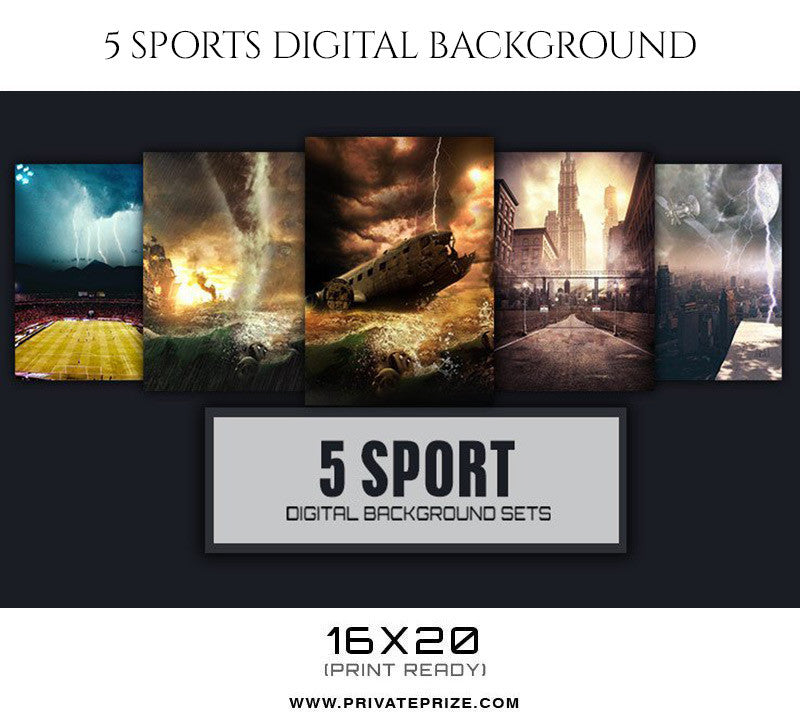 Strength 5 Sports Digital Background - Photography Photoshop Template