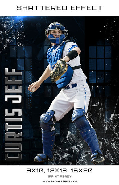 Shattered Effect Baseball High School Sports Template -  Enliven Effects - Photography Photoshop Templates
