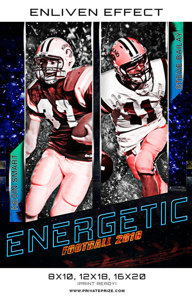 Kevin Energetic Football Sports Template -  Enliven Effects - Photography Photoshop Templates