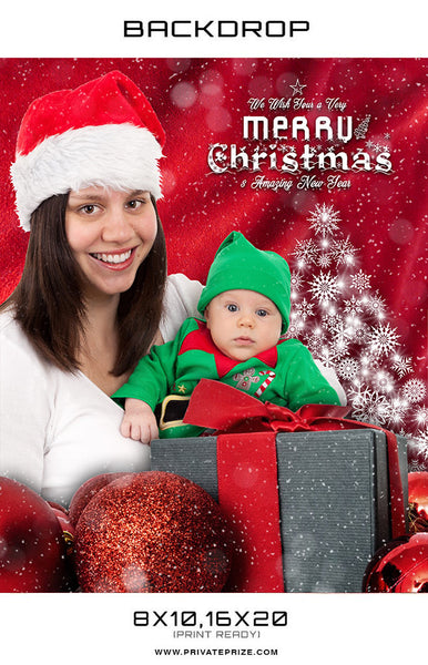 Merry Christmas and New Year Photoshop Backdrop - Photography Photoshop Templates