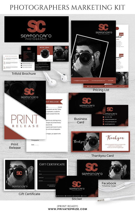 Seaton Caro - Marketing Kit for photograophers - Photography Photoshop Template
