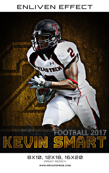 Kevin Smart Football 2017 High School Sports Template -  Enliven Effects - Photography Photoshop Templates