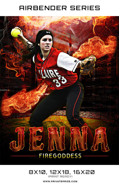Airbender Series Softball 2017 Sports Template -  Enliven Effects - Photography Photoshop Templates