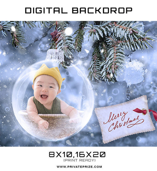 New Born Christmas Glass Ball Digital Backdrop - Photography Photoshop Templates