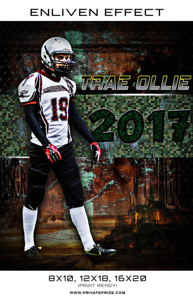 Trae Ollie 2017 Football High School Sports Template -  Enliven Effects - Photography Photoshop Templates