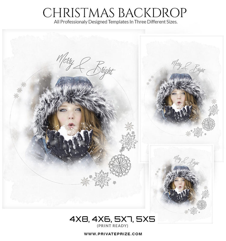 Merry and Bright Christmas Digital Backdrop - Photography Photoshop Templates