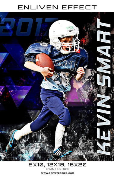 Kevin Smart Football 2017 Sports Template -  Enliven Effects - Photography Photoshop Templates