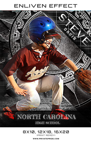 Steve North Carolina Baseball Sports Template -  Enliven Effects - Photography Photoshop Templates