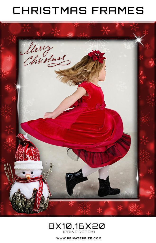 Red Christmas Frame Digital Backdrop - Photography Photoshop Templates
