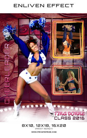 Tina Cheerleader - Enliven Effects Photoshop Template - Photography Photoshop Templates