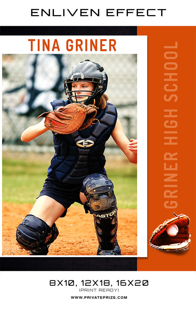 Tina Griner Softball High School Sports Template -  Enliven Effects - Photography Photoshop Templates
