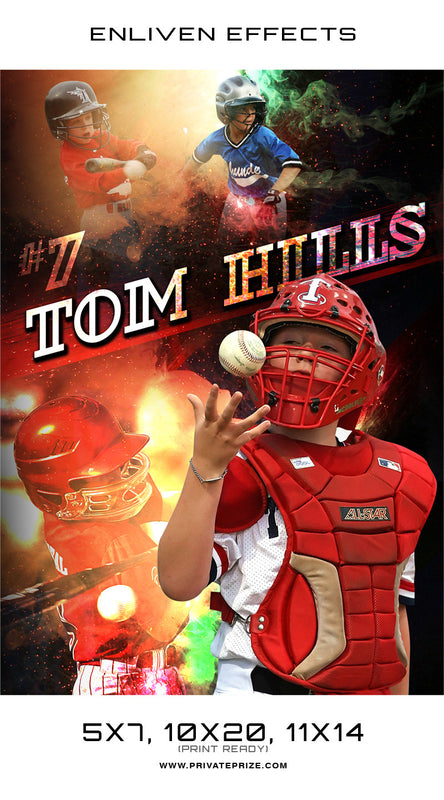 Tom Hills Baseball - Enliven Effects - Photography Photoshop Template