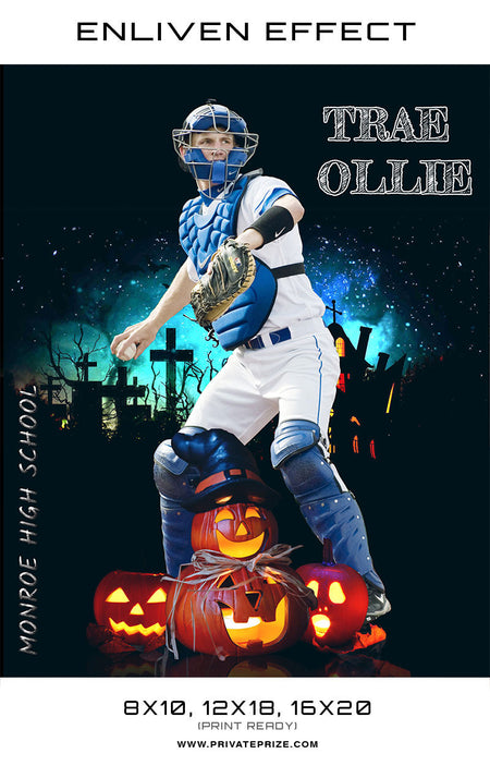 Trae Olle Baseball Halloween Template -  Enliven Effects - Photography Photoshop Template