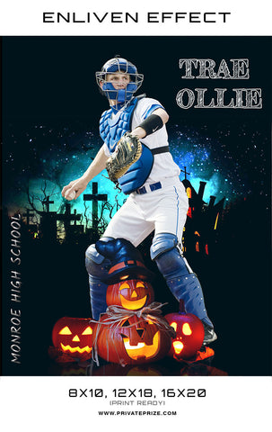Trae Olle Baseball Halloween Template -  Enliven Effects - Photography Photoshop Templates