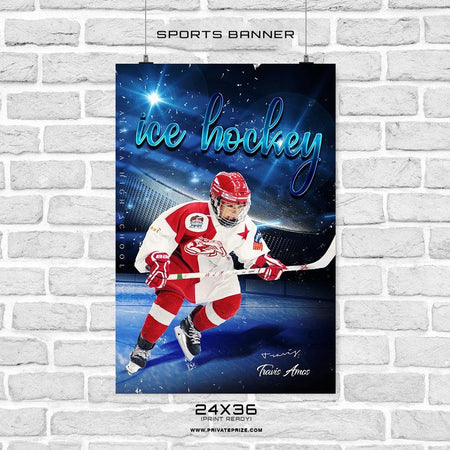 Travis Amos - Ice Hockey Sports Banner Photoshop Template