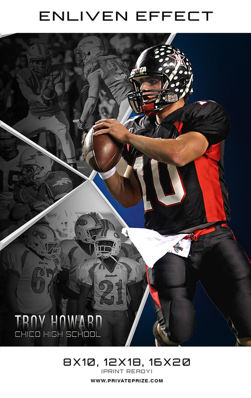 Troy Chico Football School Sports Template -  Enliven Effects - Photography Photoshop Template