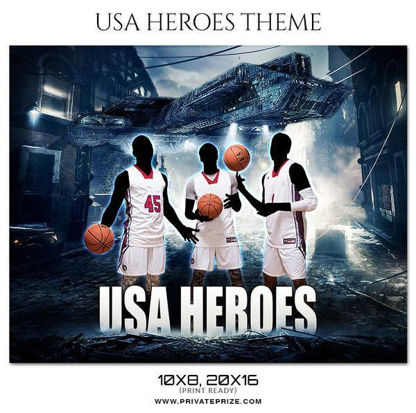 USA Heroes - Basketball Theme Sports Photography Template