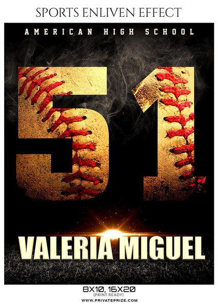 Valeria Miguel - Softball Sports Enliven Effect Photography template