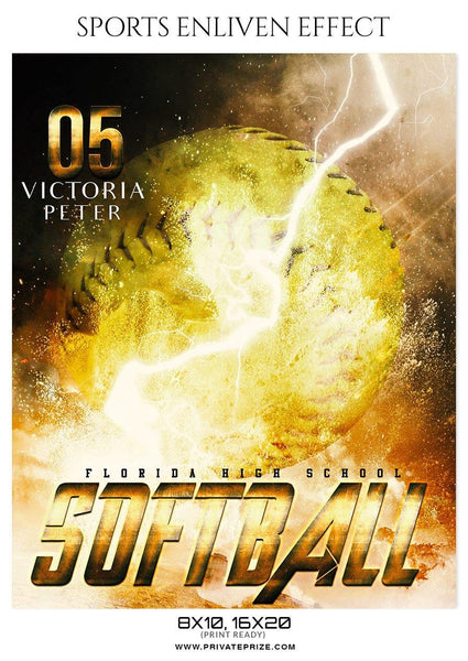 Victoria Peter - Softball Sports Enliven Effects Photography Template