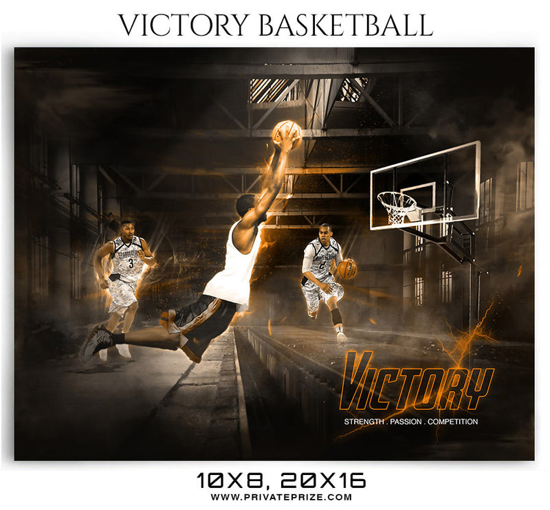 Victory Basketball Themed Sports Photography Template - Photography Photoshop Template