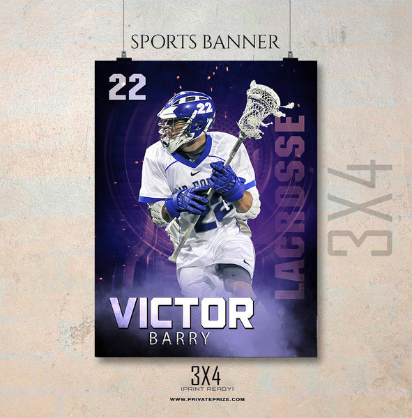 Victor Barry Lacrosse- Enliven Effects Sports Banner Photoshop Template