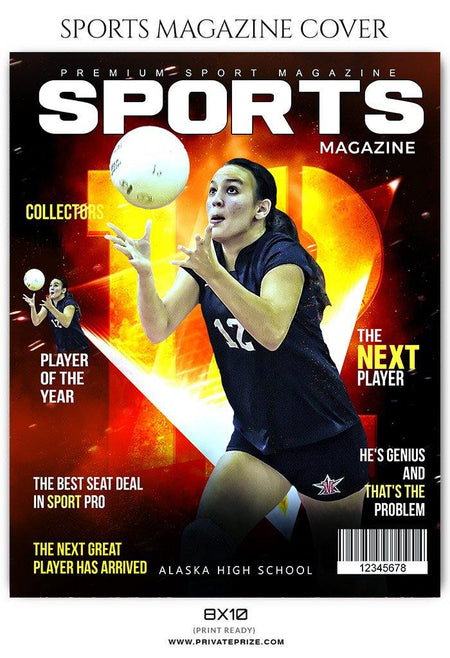 Volleyball Sports Photography Magazine Cover templates - Photography Photoshop Template