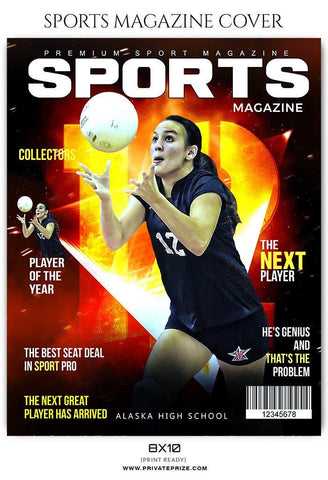 Volleyball Sports Photography Magazine Cover templates