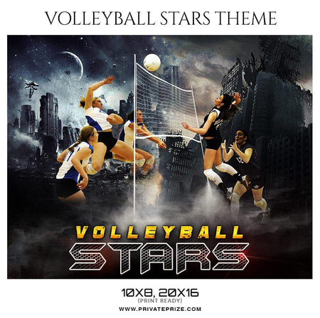 Volleyball Stars - Themed Sports Photography Photoshop Template - Photography Photoshop Template